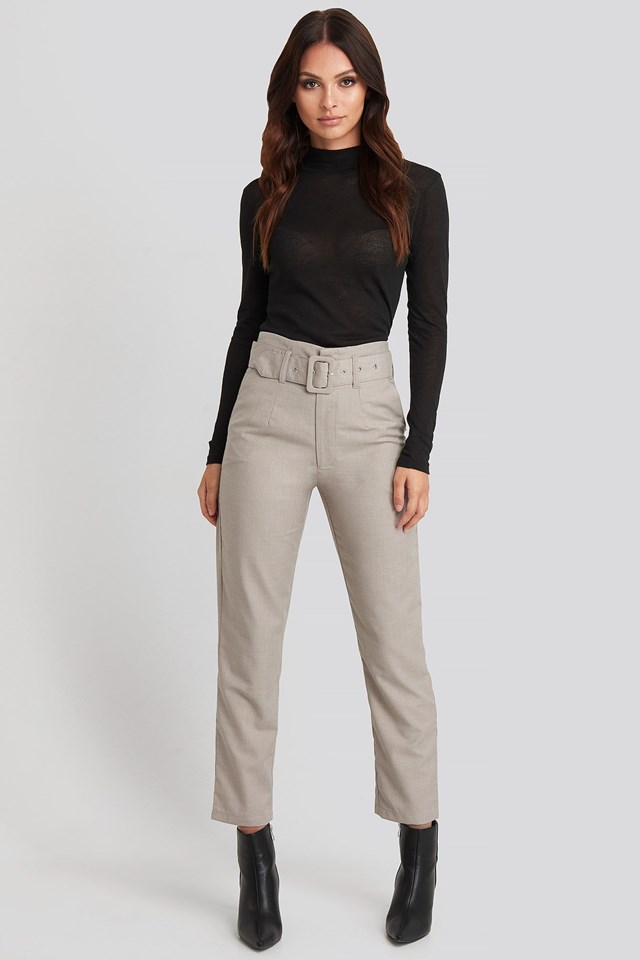 High Waist Belted Pants Grey Outfit