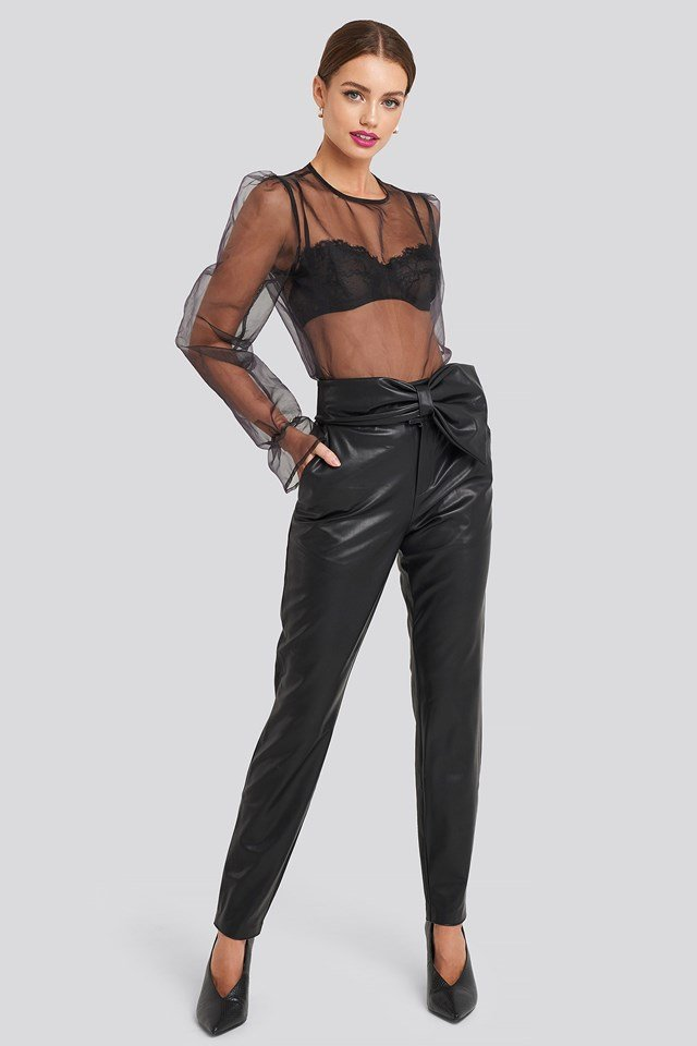 Bow Detail Faux Leather Pants Black Outfit