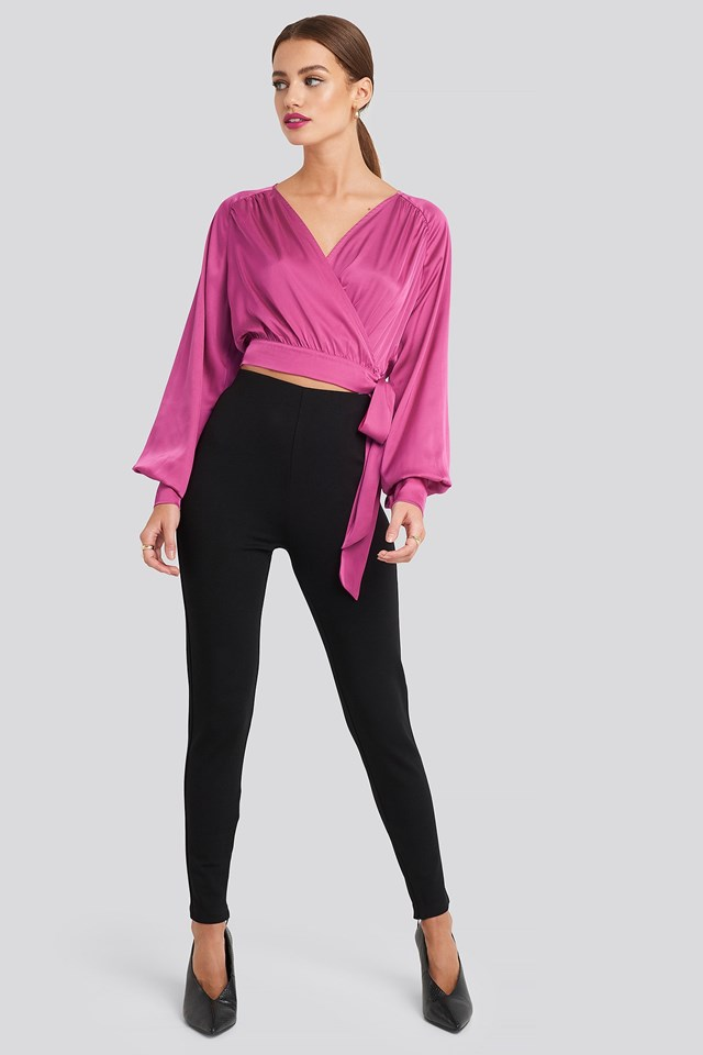 Wrap Front Cropped Blouse Pink Outfit