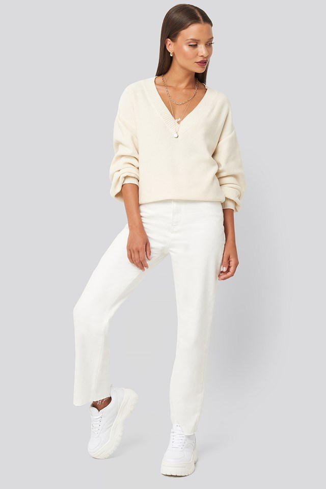 V-Neck Oversized Sweater White Outfit