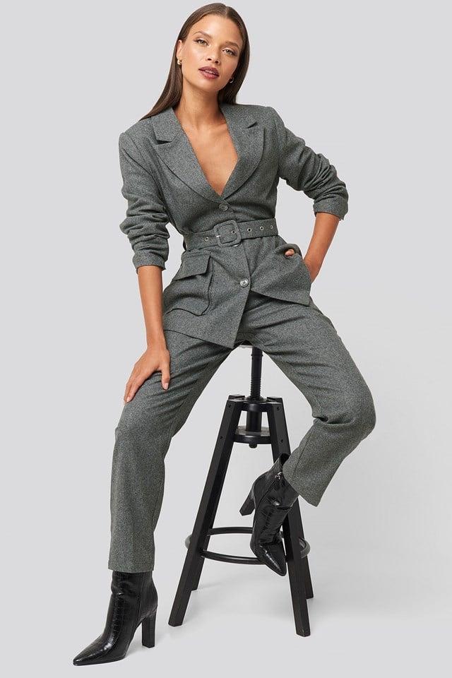 Patch Pocket Blazer Grey Outfit