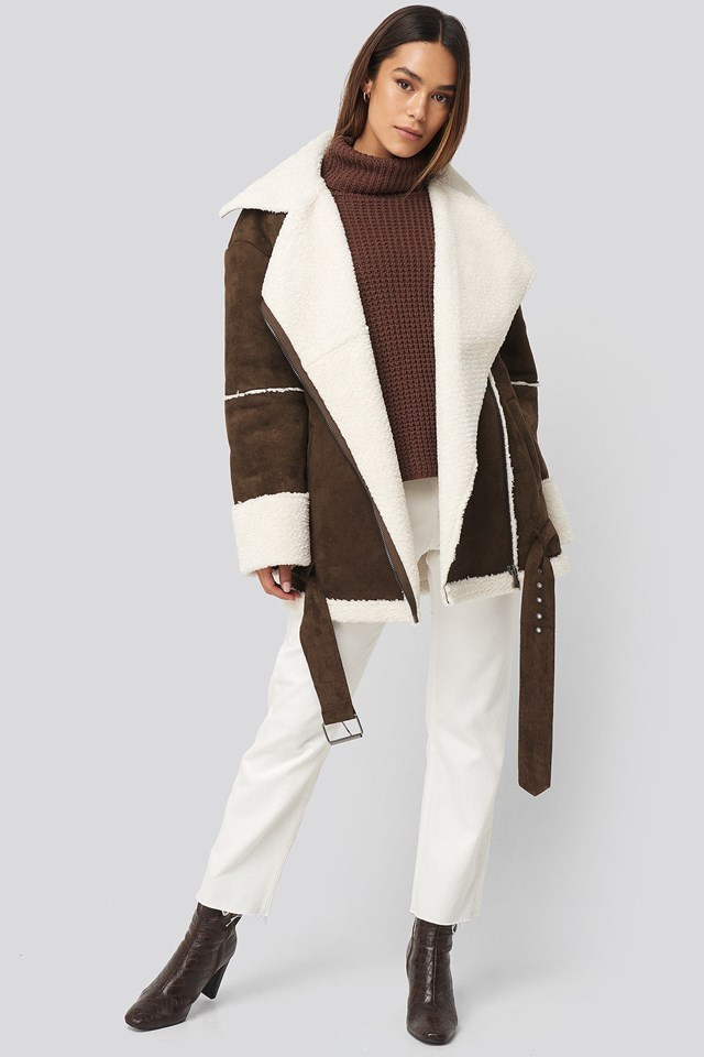 Belted Faux Fur Aviator Jacket Brown Outfit