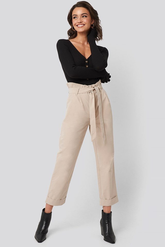 Tied Waist Suit Pants Beige Outfit