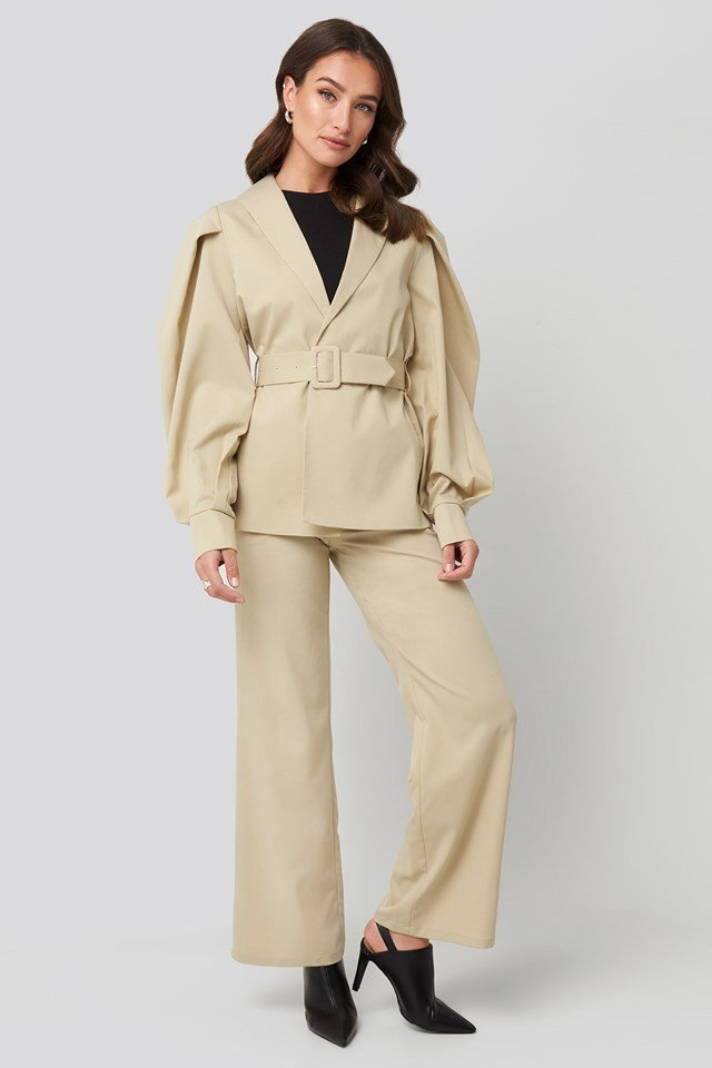 Puff Sleeve Belted Blazer Beige Outfit