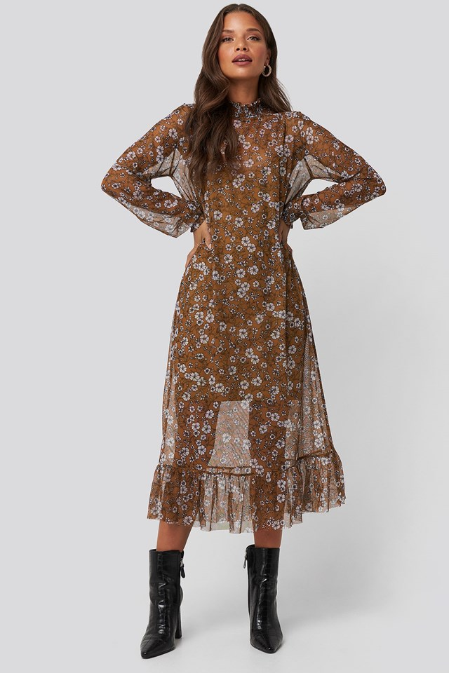 Smock Neck Printed Mesh Dress Brown Outfit