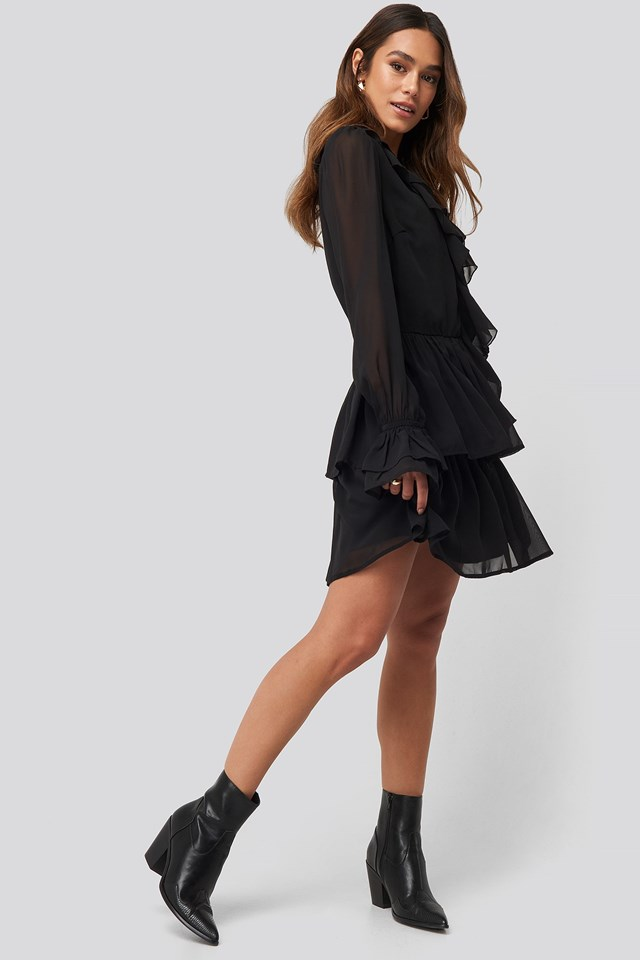 Chiffon Flounce Dress Black Outfit