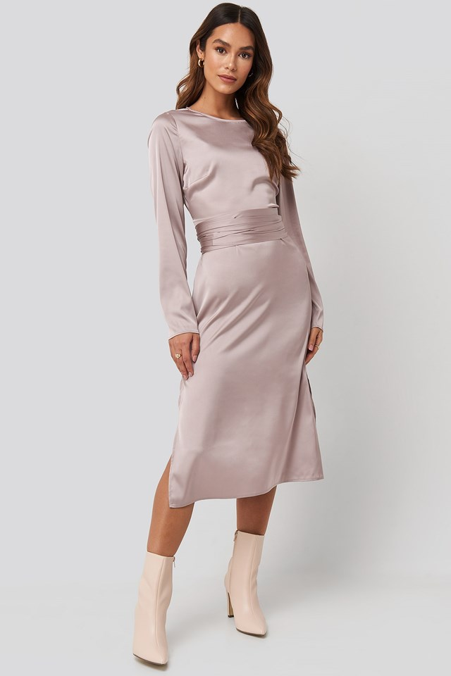 Belted Satin Midi Dress Pink Outfit