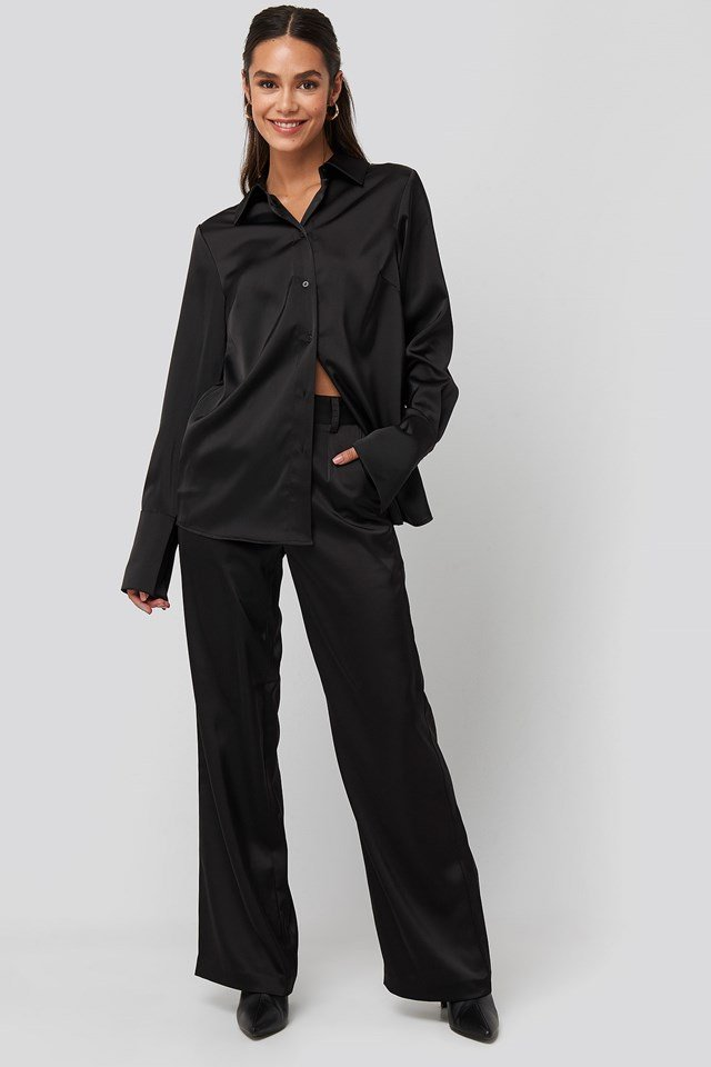 Straight Fitted Satin Blouse Black Outfit