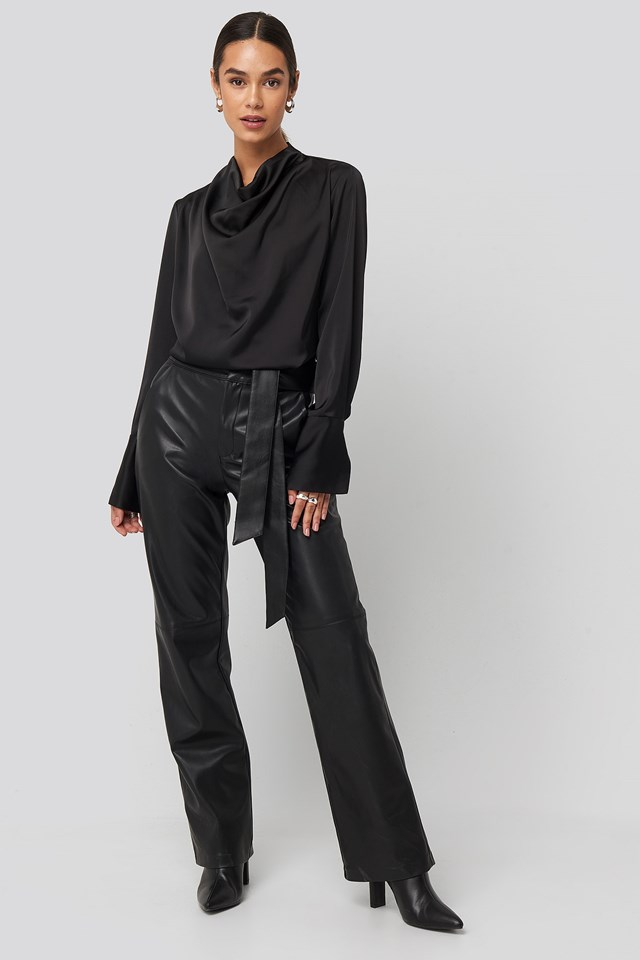 Cowl Neck Satin Blouse Black Outfit
