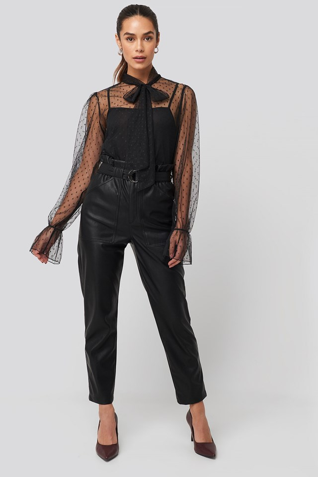 Bow Tie Dotted Mesh Blouse Black Outfit