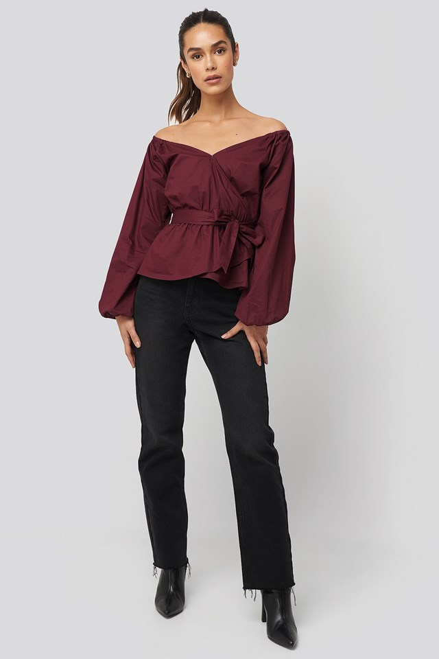Off Shoulder Tie Waist Blouse Red Outfit