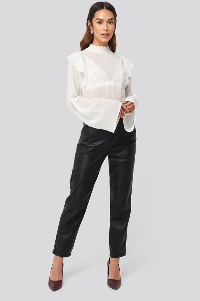 Wide Sleeve Frill Blouse White Outfit