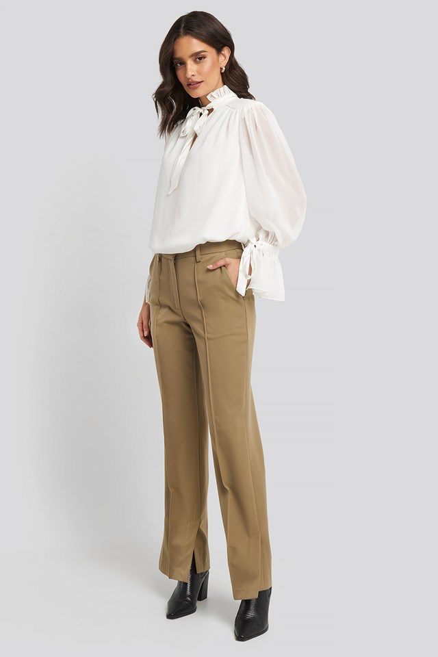 Ribbon Detailed Blouse White Outfit