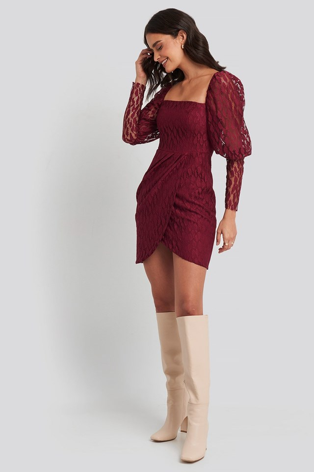 Lace Sleeve Detailed Mini Dress Red Outfit