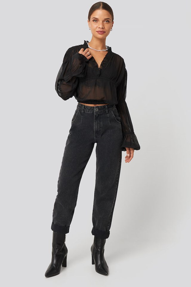 Puffy Sleeve Cropped Chiffon Blouse Outfit