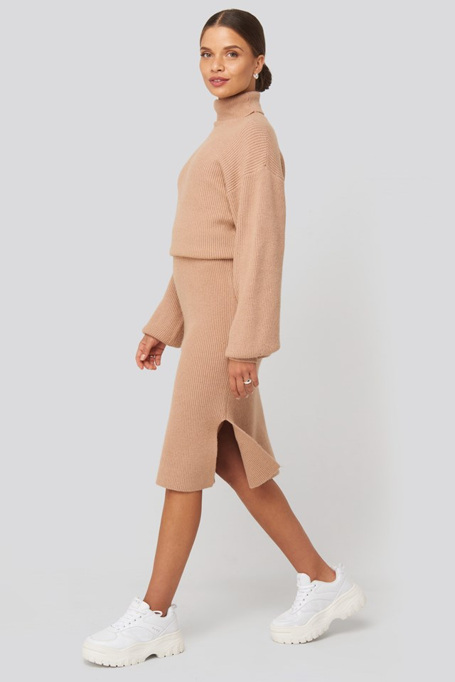 Polo Neck Ribbed Knit Sweater Beige Outfit