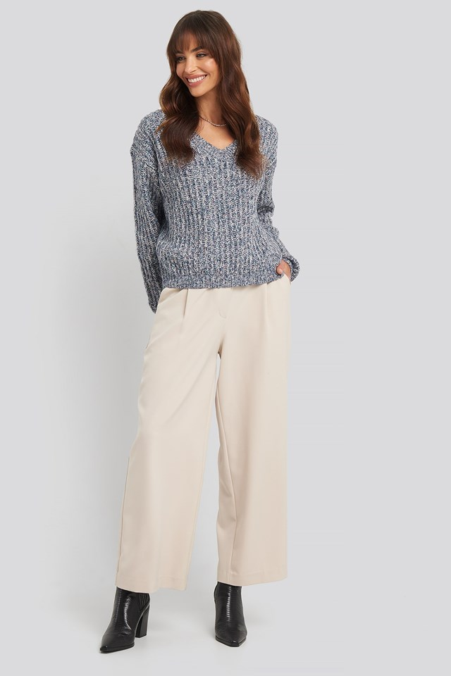 Multi Color V-neck Knitted Sweater Blue Outfit