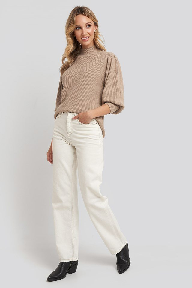 Wide Cuff Balloon Sleeve Knitted Sweater Beige Outfit