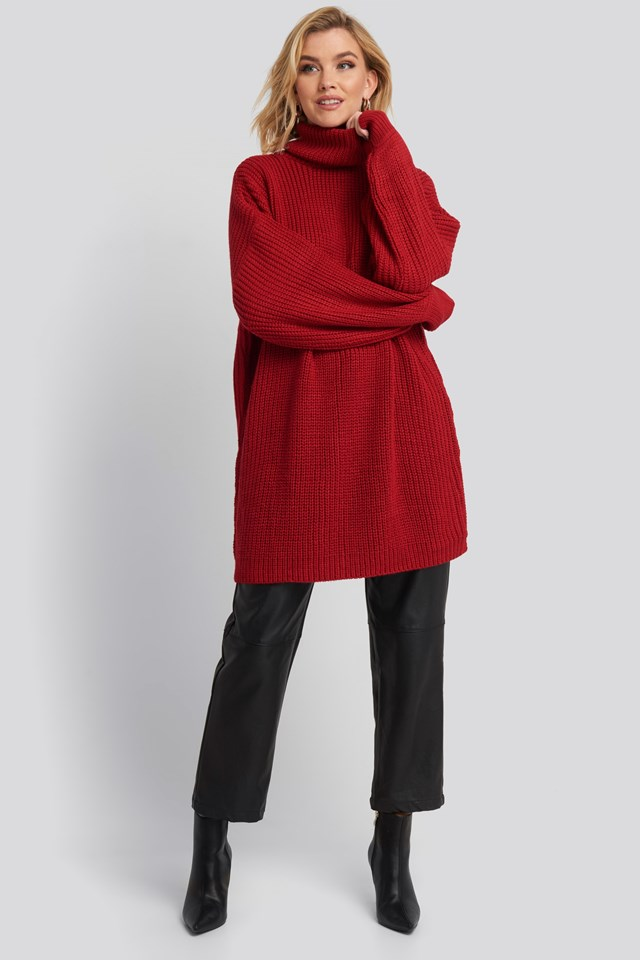 Oversized High Neck Long Knitted sweater Red Outfit