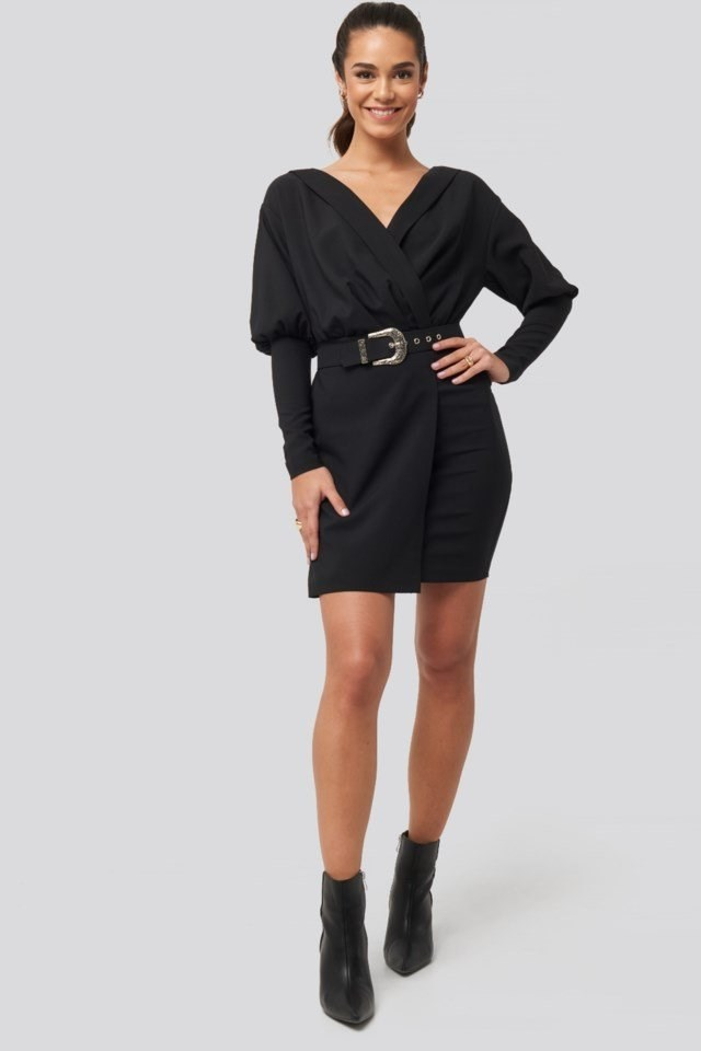 Belt Detail Double Breasted Collar Dress Black Outfit