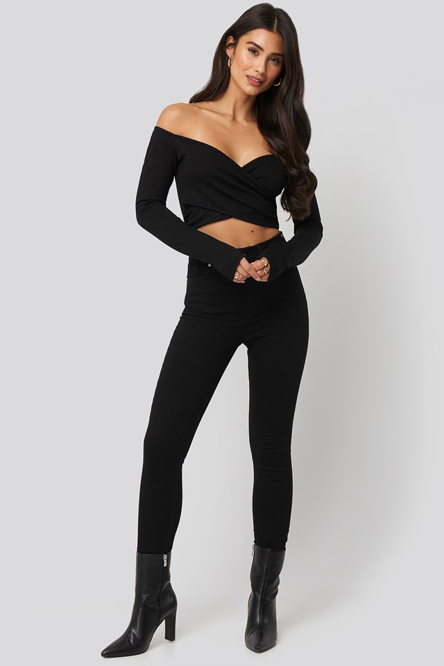 Off Shoulder Wrap Top Black Outfit
