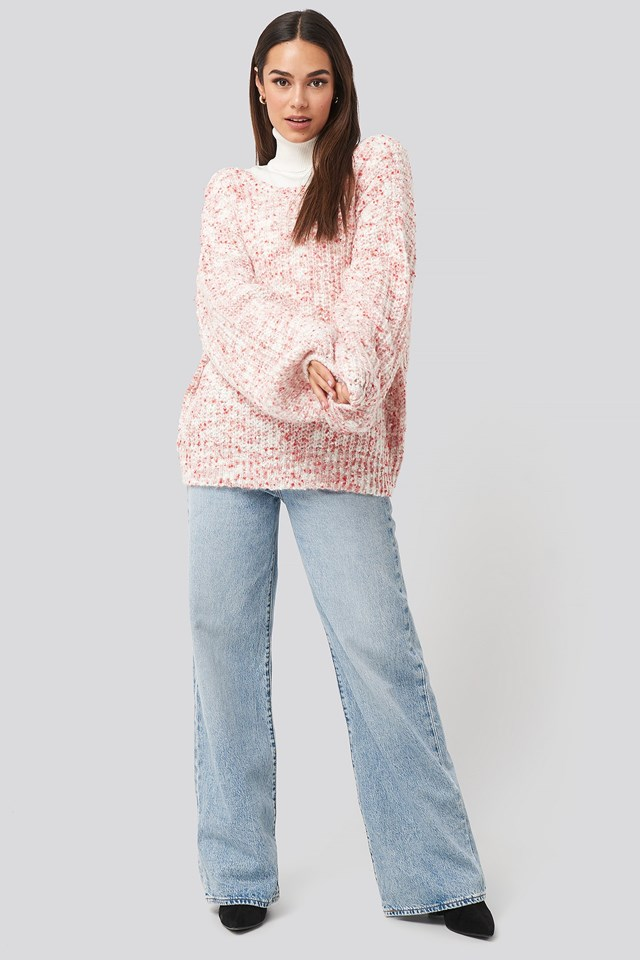 Deep Neck Melange Sweater Pink Outfit