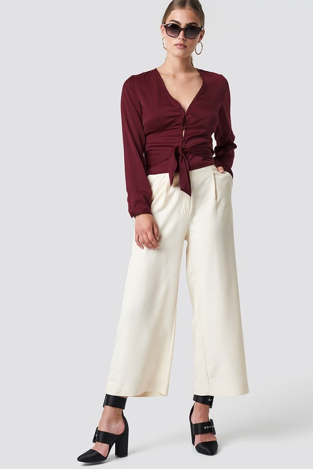 Tie Waist Blouse with Wide Pants
