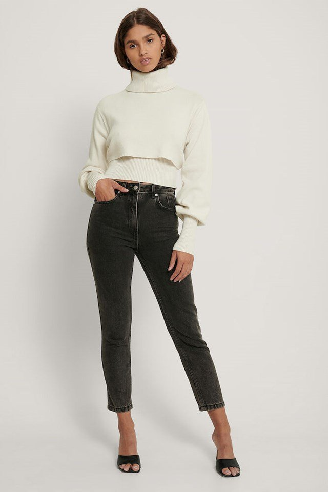 Cropped Rib Knitted Top