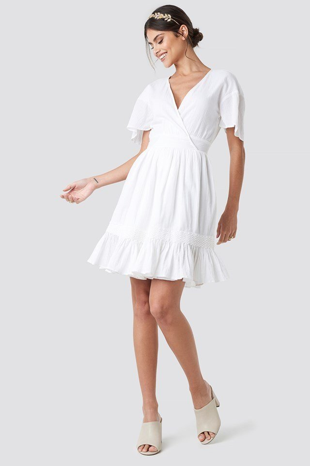Overlap Flowy Mini Dress White Outfit