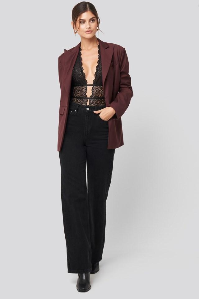 Plunge Lace Bodysuit Black Outfit