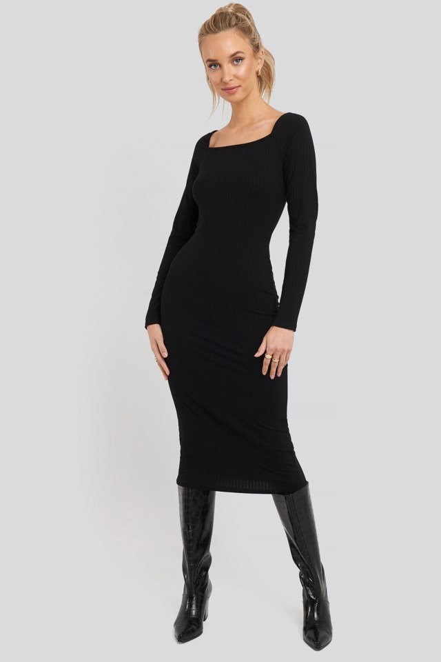 Square Neck Long Sleeve Ribbed Midi Dress Outfit