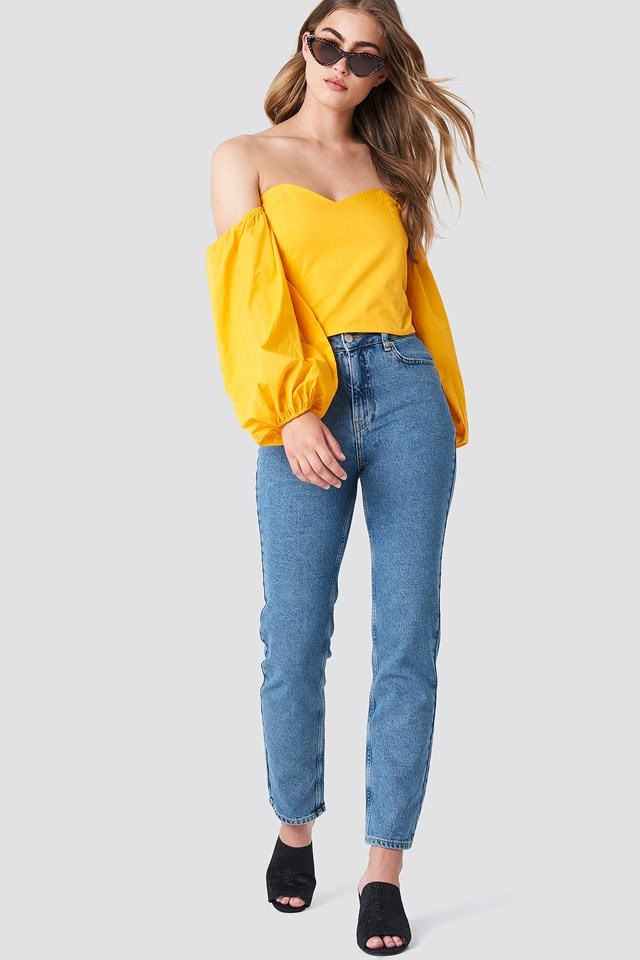 Boyfriend Jeans with Off Shoulder Blouse Outfit.