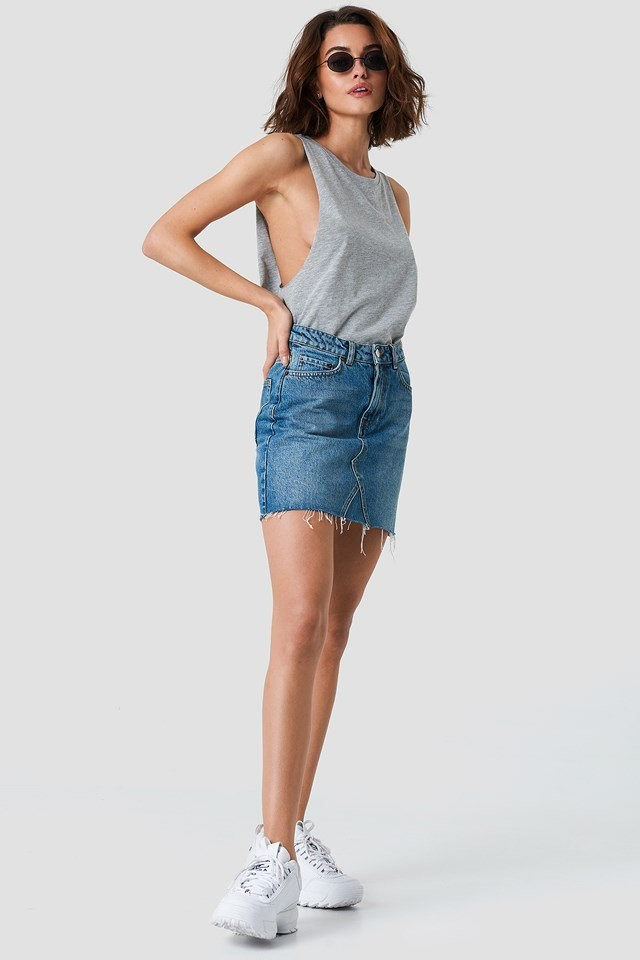 A Singlet and Denim Mini Skirt Duo