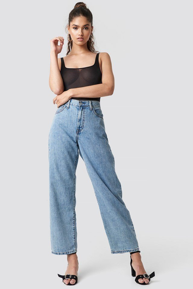 Sheer Bodice with Wide Denim Jeans