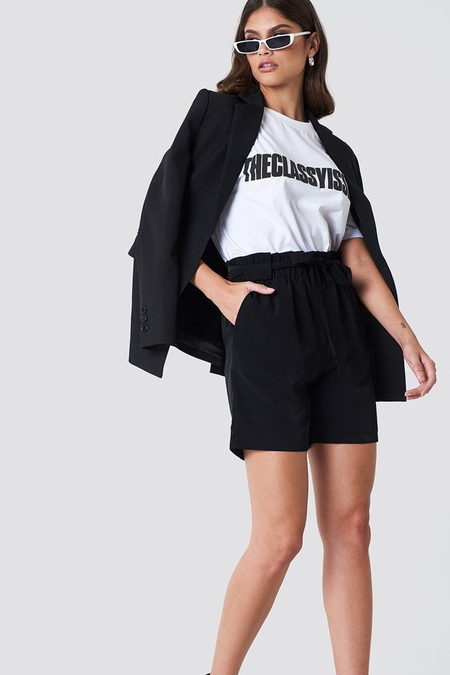High Belted Shorts with Tee and Blazer
