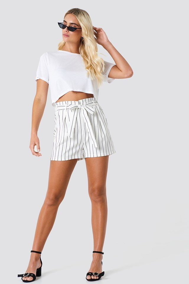 Tie Waist Shorts with Cropped Tee