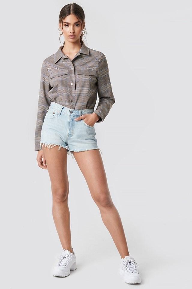 Denim Shorts with Oversized Shirt