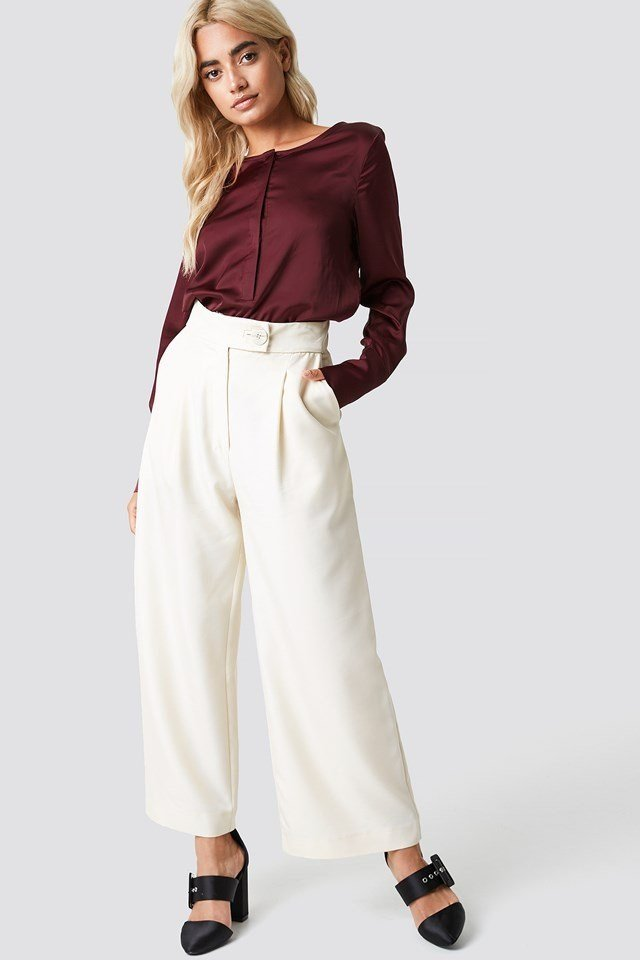 Shiny Front Placket Blouse with Wide Pants