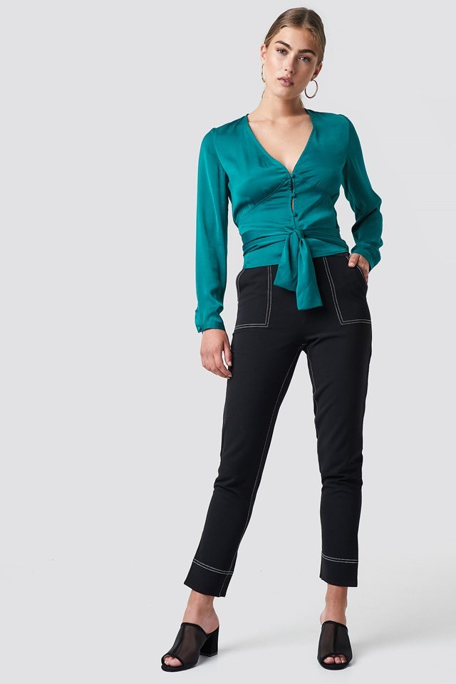 Button Tie Waist Blouse with Dark Trousers