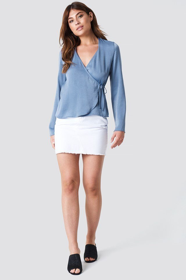 Wrap Over Satin Shirt with Denim Skirt