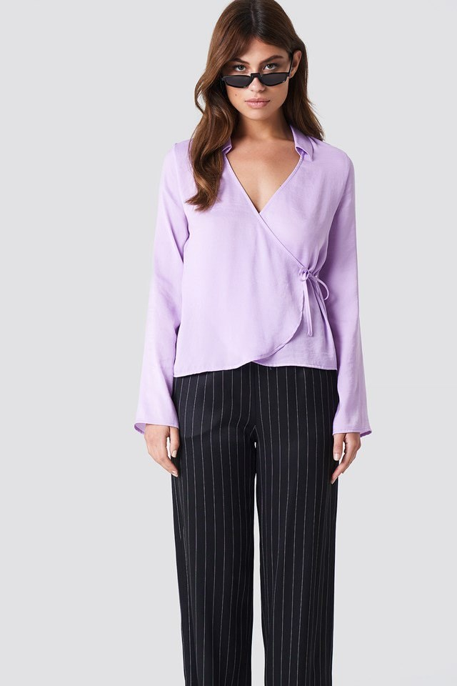 Wrap Over Satin Shirt with Striped Trousers