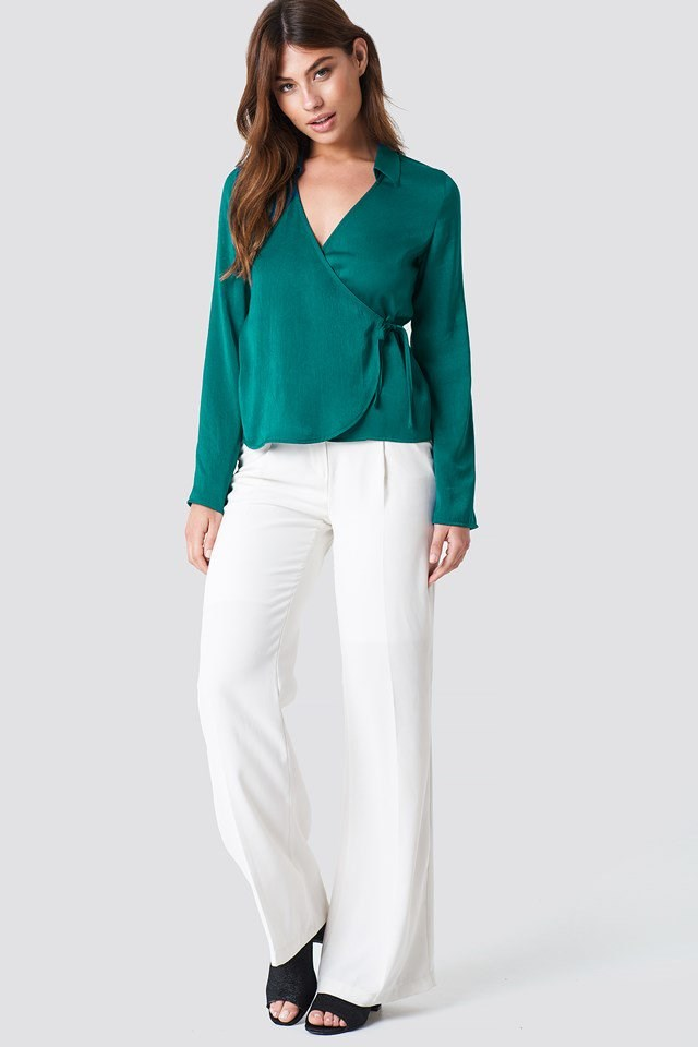 Wrap Over Satin Shirt with Wide Leg Pants