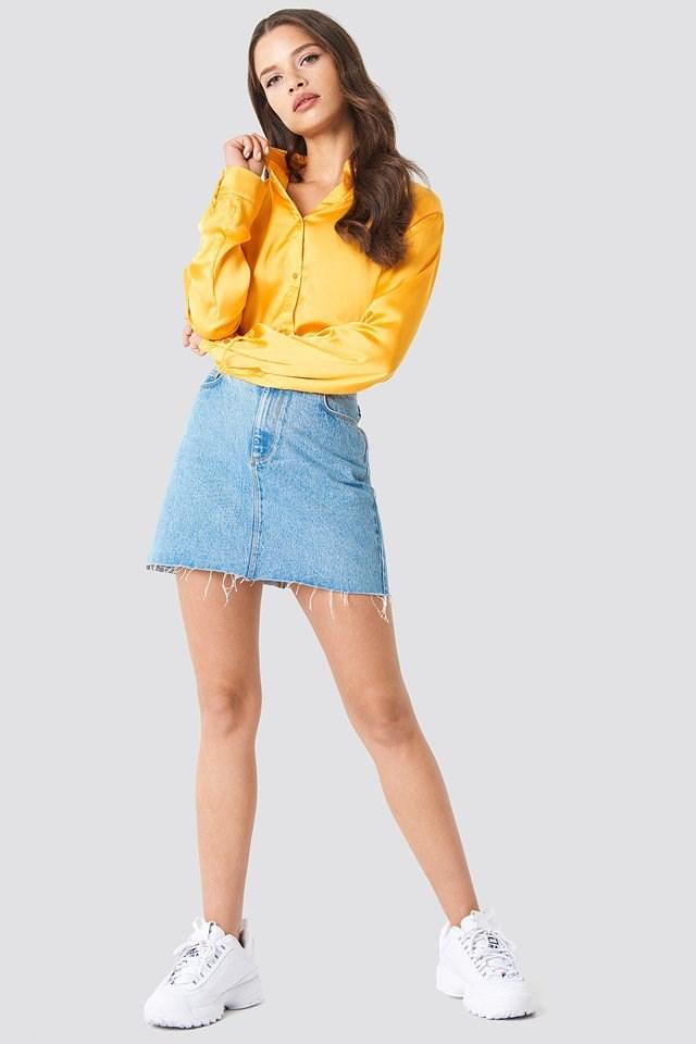 Smooth Long Sleeve Satin Shirt with Mini Skirt
