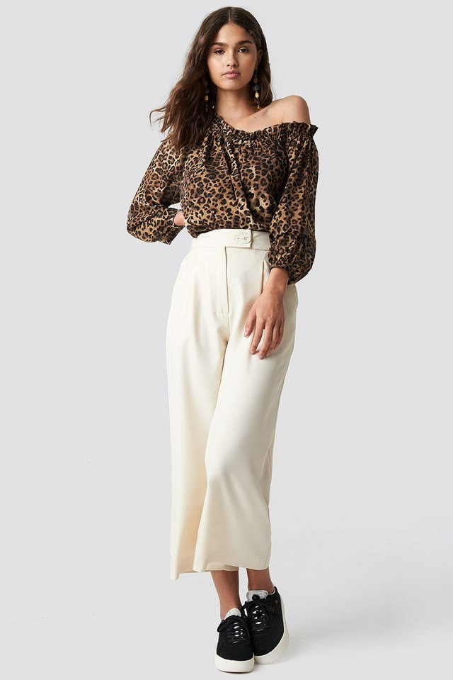 Asymmetric Neckline Blouse with Wide Pants