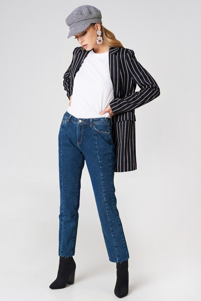 Striped Blaxer with Denim Jeans