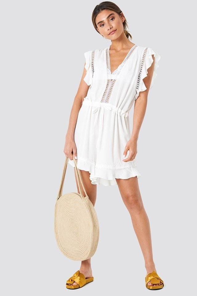 Embroidery White Playsuit