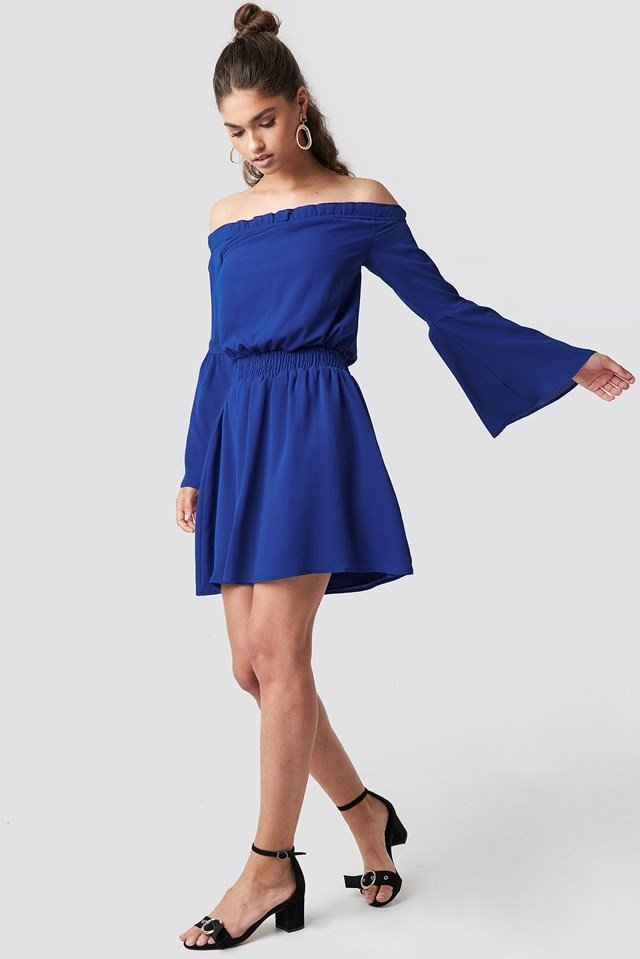 Blue Wide Sleeve Off Shoulder Dress Outfit