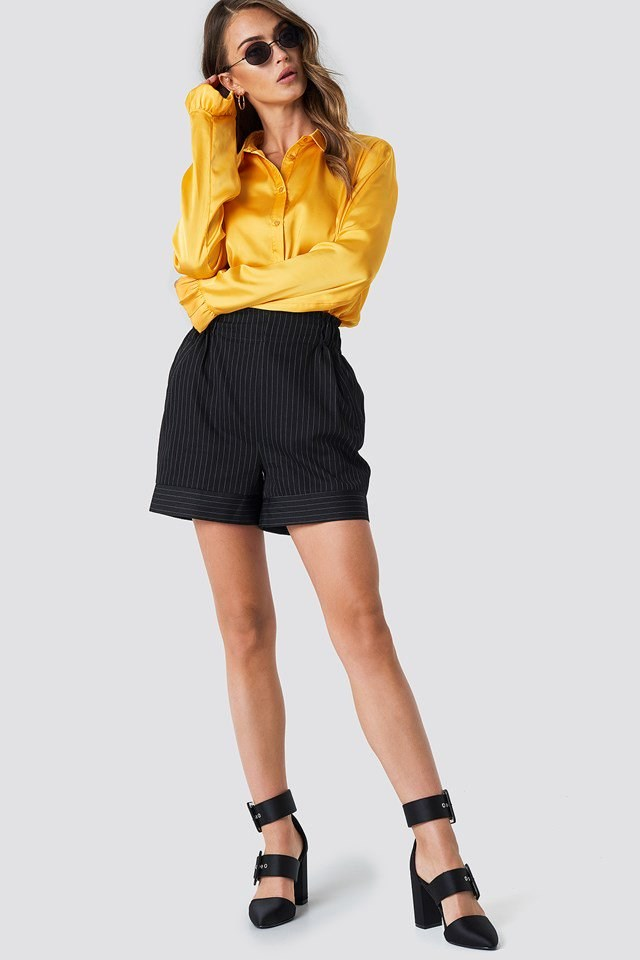 Satin Shirt with High Rise Shorts