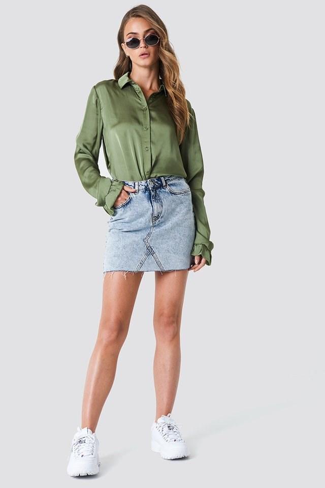 Satin Shirt with Mini Skirt