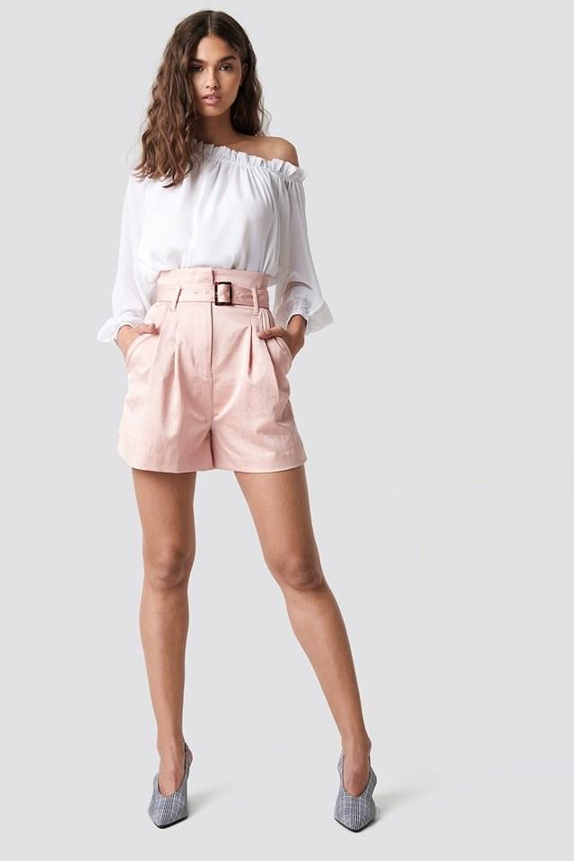 Asymmetric Neckline Blouse with High Waist Shorts